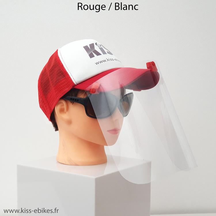 Casquette KISS (coloris Rouge / blanc) avec visière de protection COVID-19, à utiliser en plus d'un masque